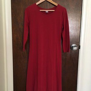 Peruvian Connection Burgundy Jersey Midi Dress
